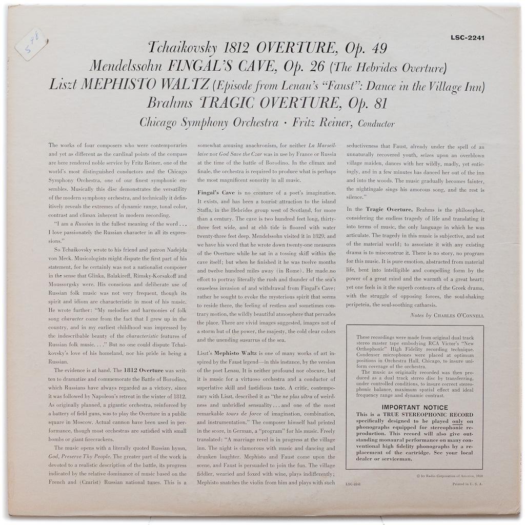 LSC-2241 – 1812 Overture — Tchaikovsky • Mendelssohn • Liszt